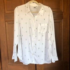 OLD NAVY CACTUS PRINT BUTTON DOWN SHIRT WHITE L